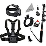 Deyard ZG-634 GoPro Accessories Kit Set of 4 for GoPro Hero 4 Session Hero 4 3+ 3 2: Head Strap Mount +Chest Harness with J-hook Mount +Wrist Mount +Extendable Handheld Monopod with Tripod Mount +Flexible Phone Clamp +Thumbscrew +Deyard Fiber Cloth Also for SJ4000 SJ5000+