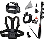 Deyard ZG-634 GoPro Accessories Kit Set of 4 for GoPro Hero 4 3+ 3 2: Head Strap Mount +Chest Harness with J-hook Mount +Wrist Mount +Extendable Handheld Monopod with Tripod Mount +Flexible Phone Clamp +Thumbscrew +Deyard Fiber Cloth Also for SJ4000 SJ5000+