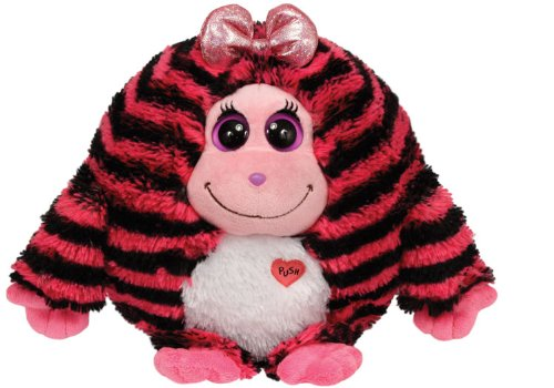 Ty Monstaz ZOEY - pink w/black stripes Small Plush - 1