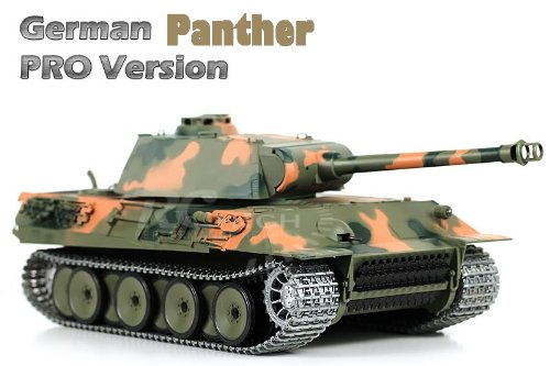 1/16 Remote Control German Panther Air Soft RC Battle Tank Smoke & Sound (Upgrade Version w/ Metal Gear & Tracks)