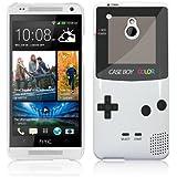 "HTC One Mini (M4) Hülle Hardcase (Harte Rückseite) Case Hülle Cover - ""Retro Gameboy"" Muster Schutzhülle für HTC One Mini (M4) Weiß"