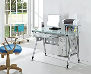 SixBros. Computer Desk   PC Workstation   Office Desk   Glass/Silver Grey   CT 3783/40       reviews