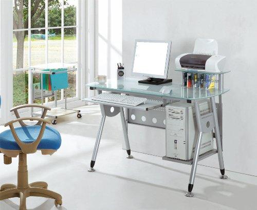 Mesa de trabajo en acero y vidrio