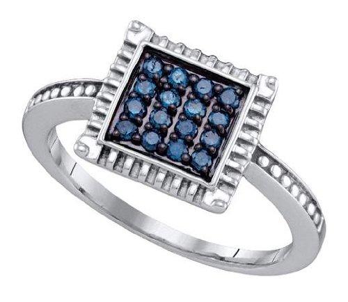 Sterling silver 0.26 Carat (ctw) Diamond Cluster Ladies Blue Diamond Ring