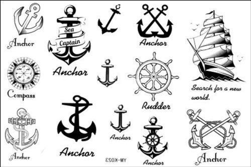2012 latest new design new release Temporary Tattoo waterproof anchor nautical tattoo stickers by YiMei