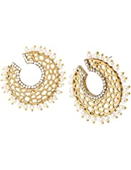 The Jewelbox Chaand 18K Gold Plated Pearl Bali Earring For Women