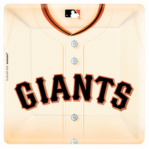 San Francisco Giants Baseball - Square Banquet Dinner Plates Party Accessory