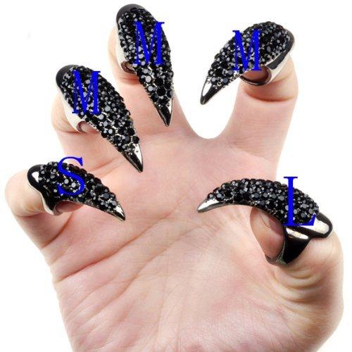 niceeshop(TM) Gothic Punk Style Crystal Rhinestones Paved Claw Paw Fake False Nails-Black