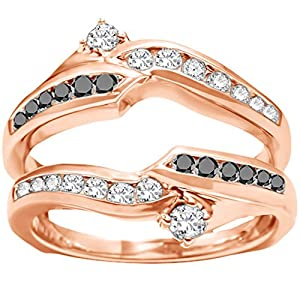 Black Diamond Ying Yang Inspired Anniversary Ring Guard Set In Rose Gold Plated Sterling Silver (0.79 Ct. Twt.)