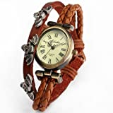 Ailisha Bronze Ladies Fashion Weave Wrap Beige Leather Skull Wing Bracelet Quartz Watch WAA354