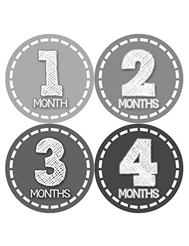 Months in Motion 435 Monthly Baby Stickers Baby Boy Month 1-12 Milestone Age Sticker Photo Prop