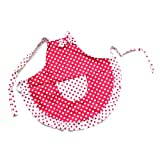 Princess Red White Dot Bow Frill Adjustable Kid Cotton Apron