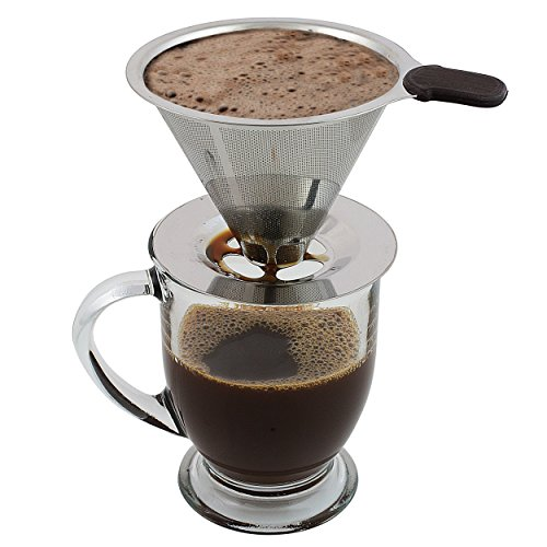 Clever Coffee Dripper - Personal, Atomic Coffee Brewer Made Of Stainless Steel - Portable, Paperless Pour Over Coffee Dripper With Stand - Metal Single Cup Coffee Maker & Brewer By Groovy Grinders (Melita Single Cup compare prices)
