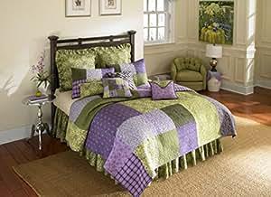 Donna Sharp Vineyard Square 100-Percent Cotton Twin Quilt, Purple/Green
