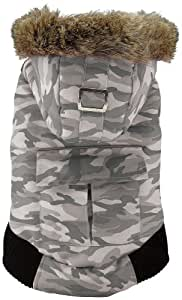 FouFou Dog Canada Fouse Reversible Winter Coat for Dogs, 3X-Large, Camo Grey/Black