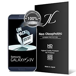 Neo HD Oleophobic - JL316 Samsung Galaxy S4 Screen Protector - Premium Japanese Film - 3 Pack - Lifetime Replacement - Verizon, AT&T, Sprint, T-Mobile, International, and Unlocked - Screen Protector Cover for Galaxy S IV SIV i9500 2013 Model