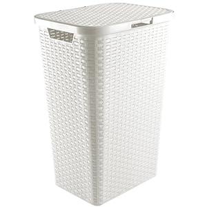 Wäschekorb 65L 43 x 33 x 60 cm in Flechtoptik (Weiß)