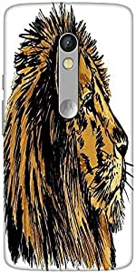 Snoogg Sketch Of A Big Male African Lion Vector Illustration Designer Protective Back Case Cover For Motorola Moto X Play