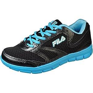 Fila Womens Warp 4 Black/Sky Blue/Metallic Silver Running Shoes