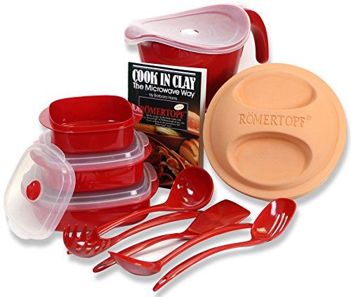 Romertopf 99150 Set Round Casserole Glazed Clay Cooker (Made In Germany) + Batter Bowl With Lid + Microwave Set + Utensils Set + Cookbook