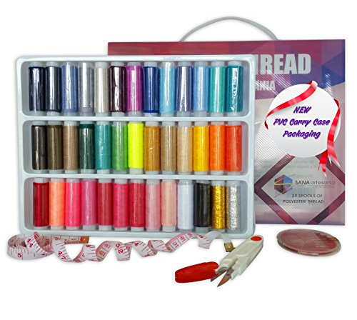Sewing Thread Spool Kit, 100% POLYESTER THREAD Box for Sewing Machine, 39 Waterproof SPOOLS OF THREAD with FREE Tailoring Supplies/Sewing Tools improved Needles+sharp Cutter+premium Measuring Tape by Sana Artesania. (Sewing Machine Thread Kit compare prices)