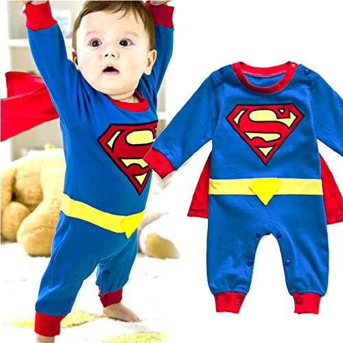 Long Sleeve Superman Romper With Removable Cape ( 90(Fits 12-18 Months)) (Baby Super Hero)