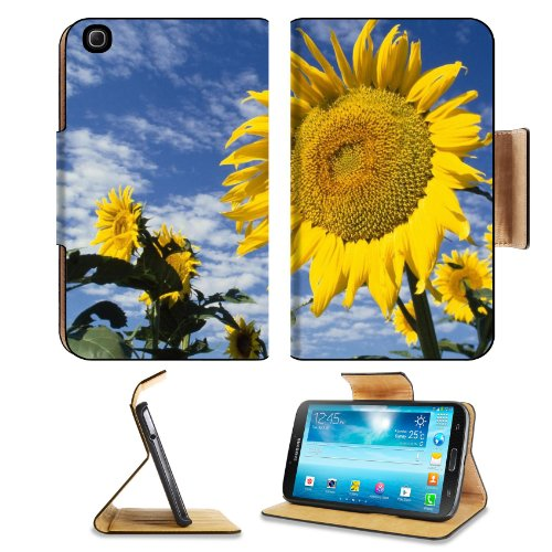 Sunflowers Field Nature Sky Clouds Summer Samsung Galaxy Tab 3 8.0 Flip Case Stand Magnetic Cover Open Ports Customized Made To Order Support Ready Premium Deluxe Pu Leather 8 7/16 Inch (215Mm) X 5 6/8 Inch (145Mm) X 11/16 Inch (17Mm) Liil Galaxy Tab3 Cas front-950318