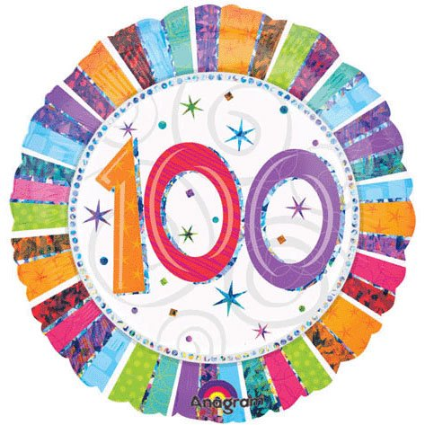 "Anagram International Radiant Birthday 100 Balloon, 18"", Multicolor"