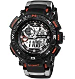 ALIKE デジタル腕時計 アナデジ表示 多機能スポーツウォッチ 防水50m 防衝撃 ブルー メンズ時計