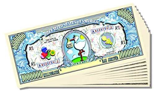 """It's a Boy"" Novelty Million Dollar Bill - 25 Count with Bonus Clear Protector & Christopher Columbus Bill"