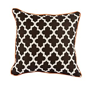 Room Service Retro Mod Collection Marrakesh Pattern Pillow, 20-inch x 20-inch, Oatmeal Linen/Orange/Brown