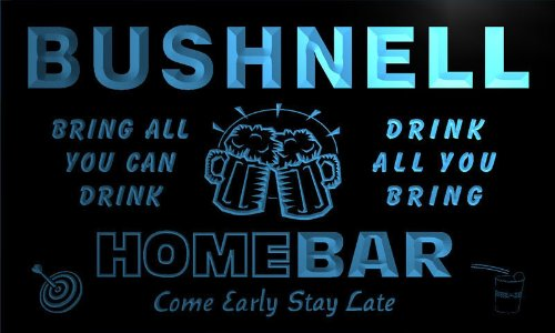Q06294-B Bushnell Family Name Home Bar Beer Mug Cheers Neon Light Sign
