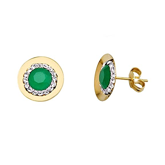 18k gold emerald earrings round cubic zirconia center [AA5639]