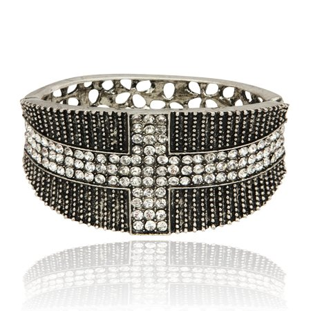 MizEllie Costume Jewellery Rockin' English Flag Silver Tone and Black Crystal Hinged Bangle Bracelet ,Can Make An Ideal Gift With Free Elegant Organza Jewellery Pouch
