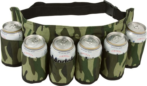 EZ DRINKER 6 Pack Redneck Beer and Soda Can Holster Belt, Camo Camouflage Design