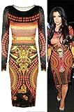 Womens Ladies Aztec Diamond Print Long Sleeve Bodycon Tunic Celebrity Dress