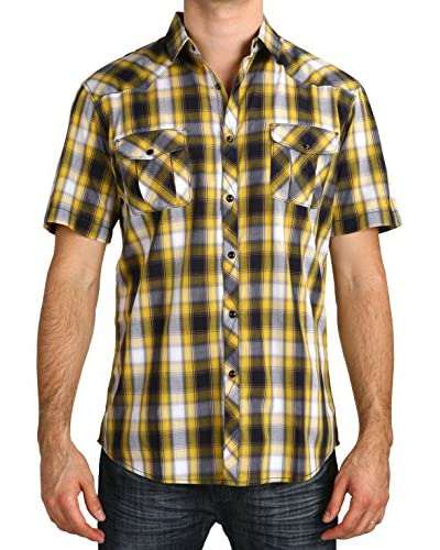 Micros Men's Wildflowers Short Sleeve Plaid Shirt with Snaps