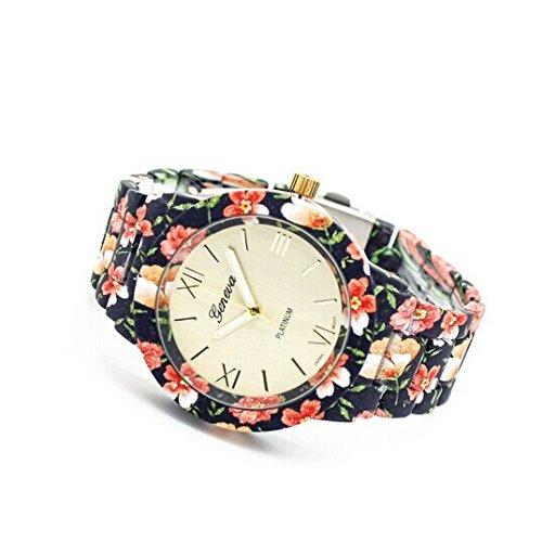Brand Women Big ROMA Flower Style Quartz Stainless Steel Wrist Watch Gold /Black image