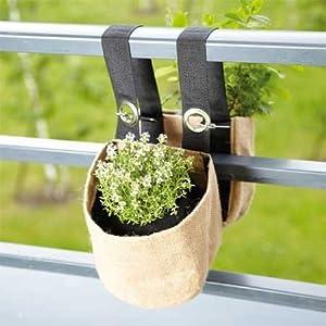 double jardini re suspendue en toile de jute pour balcon. Black Bedroom Furniture Sets. Home Design Ideas