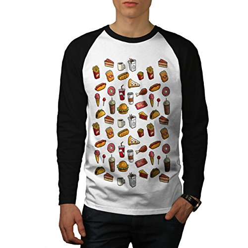 snack-collection-art-food-joy-men-new-white-black-sleeves-xl-baseball-ls-t-shirt-wellcoda
