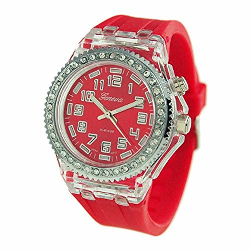 Geneva Platinum Silicone Rubber Cz Light Up Watch Breast Cancer Pink