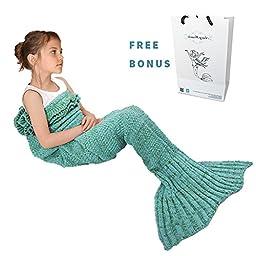Mermaid Tail Blanket, Amyhomie Mermaid Crochet Blanket for Adult and Kids, All Season Sleeping Bag (Kids, Mint)