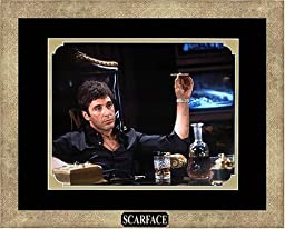 Scarface - Al Pacino as Tony Montana with Cigar. Framed Photo in the Custom Made Modern Scratched Gold Wood Frame (15.5 x 12.5)