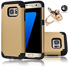 buy Galaxy S7 Edge Case, Ec™ [Slim Fit] Hybrid Armor Dual Layer Shockproof Protective Case + Crystal Bling Ring Stand Phone Stand For Samsung Galaxy S7 Edge (Gold+Black)