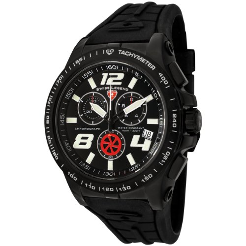 Swiss Legend Men's 80040BB01 Sprint Racer Collection Chronograph Black Rubber Watch