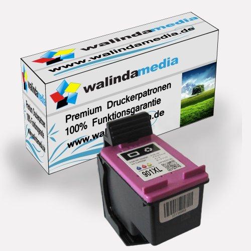 Walindamedia 1x Druckerpatrone Ersatz für Hp 1x 901 XL Tinte Color 21ml Ersatz für Hp cc656ae ( 901 xl , hp901xl) , farbig, Original Wertserie