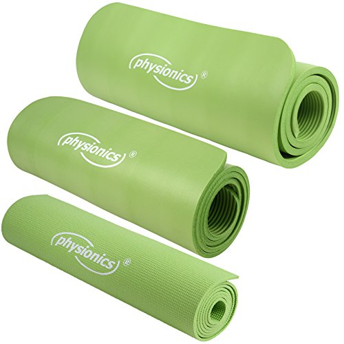 Gymnastikmatte Fitnessmatte Yogamatte Pilates grün 180 x 60 cm Übungsmatte (Stärkenwahl 0.5, 1.0 & 1.5cm)