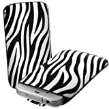 White & Black Zebra Print Leather Xylo-Pouch Case Cover with Pull Up Cord: for the Apple iPod Touch 5 / 5th Generation / 5G - 32GB & 64GB