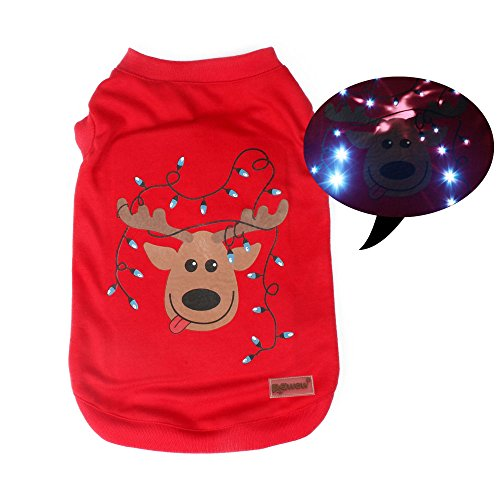 [LED Light up Pet Dog T-shirts Puppy Clothes with Christmas Reindeer at Back, Large] (Spirit Walker Costume)