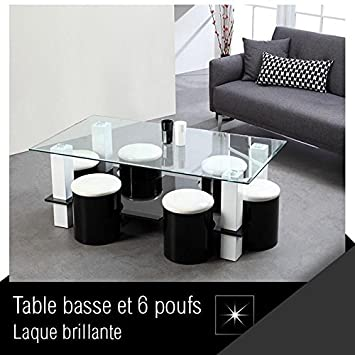 BODEGA Table basse + 6 poufs 130 cm noir